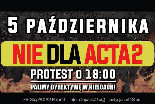 kielce wiadomości Stop ACTA2! W piątek protest na Rynku w Kielcach