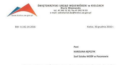 kielce wiadomości Dyrektor biura wojewody już nie pracuje. Za pismo dla WOŚP?
